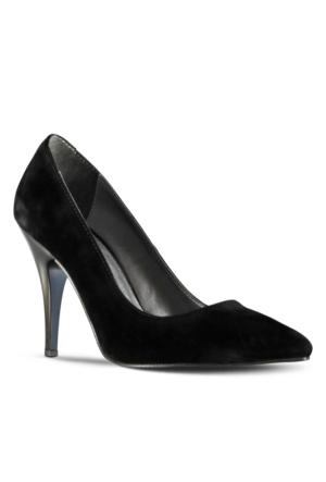 Marjin Siyso Topuklu Ayakkabı Siyah Süet