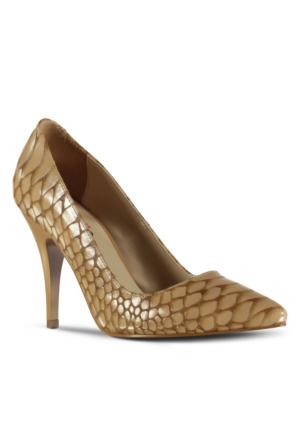 Marjin Kegan Topuklu Ayakkabı Taba Croco