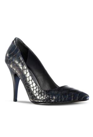 Marjin Kegan Topuklu Ayakkabı Lacivert Croco