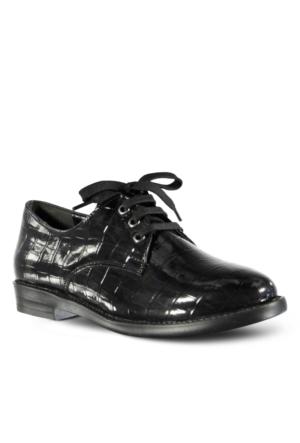 Marjin Mali Topuklu Ayakkabı Siyah Croco