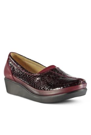 Marjin Lertus Deri Dolgu Topuklu Ayakkabı Bordo