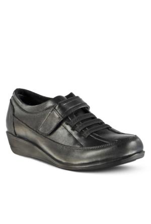 Marjin Forbire Deri Dolgu Topuklu Ayakkabı Siyah