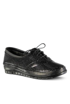 Marjin Dalke Düz Deri Ayakkabı Siyah Croco