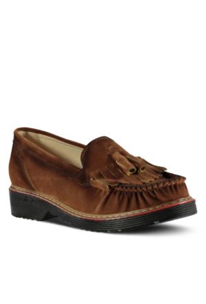 Marjin Barelsa Düz Ayakkabı Taba Süet