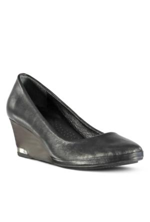 Marjin Salice Deri Dolgu Topuklu Ayakkabı Siyah
