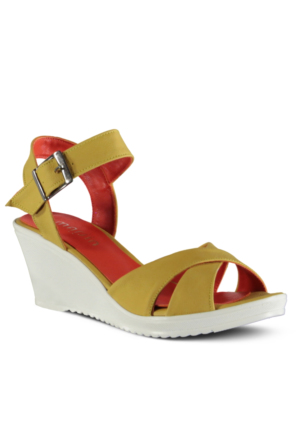 Marjin Naten Dolgu Topuklu Ayakkabı Sarı