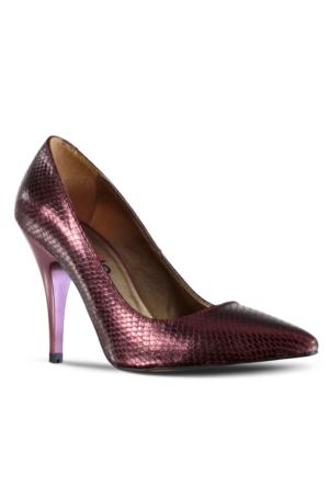 Marjin Letra Topuklu Ayakkabı Bordo Yılan