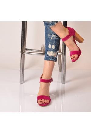 Marjin Lina Topuklu Sandalet Fuşya Süet