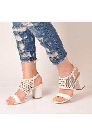 Marjin Zura Topuklu Sandalet Beyaz
