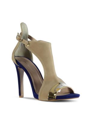 Marjin Limer Topuklu Ayakkabı Bej Süet