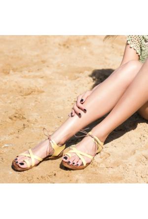 Marjin Kame Düz Deri Sandalet Sarı