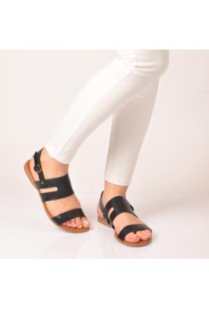 Marjin Dani Düz Deri Sandalet Siyah
