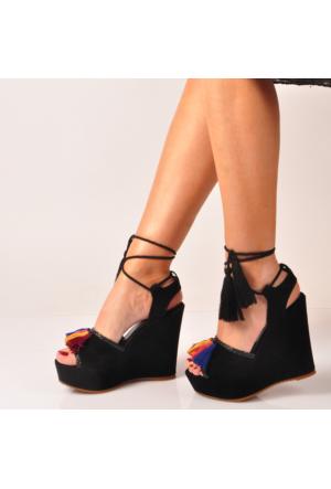 Marjin Binga Dolgu Topuklu Sandalet Siyah Süet