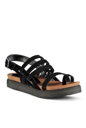 Marjin Mentas Dolgu Topuklu Sandalet Siyah
