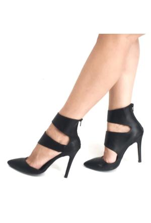Mio Gusto Siyah Asimetrik Bantlı Topuklu Kadın Ayakkabı