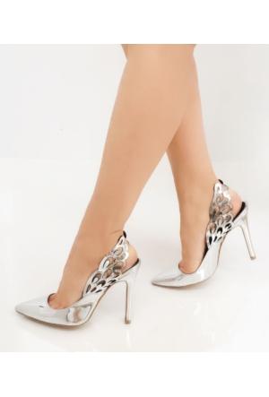Mio Gusto Gümüş Renk Kadın Topuklu Ayakkabı