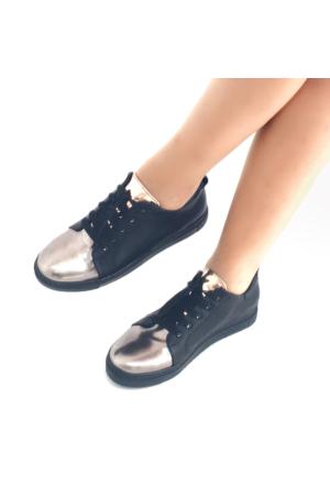 Mio Gusto Siyah Deri Günlük Kadın Ayakkabı