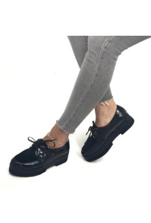 Mio Gusto Siyah Rugan Üst Kısmı Süet Kalın Tabanlı Günlük Kadın Ayakkabı