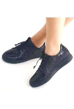 Mio Gusto Siyah Simli Günlük Kadın Ayakkabı