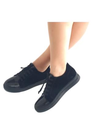 Mio Gusto Siyah Süet Bağcıklı Kadın Spor Ayakkabı
