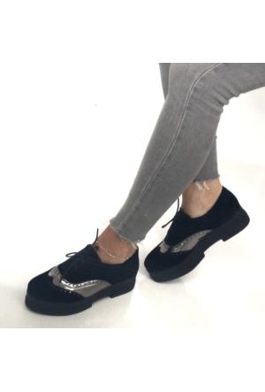 Mio Gusto Siyah Süet Platin Detaylı Kalın Tabanlı Kadın Ayakkabı