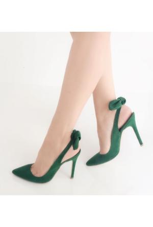 Mio Gusto Yeşil Süet Arkası Fiyonklu Stiletto