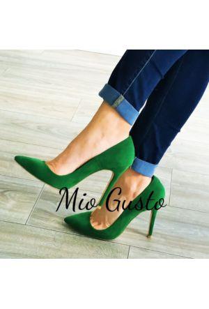 Mio Gusto Zümrüt Yeşili Süet Stiletto Kadın Ayakkabı