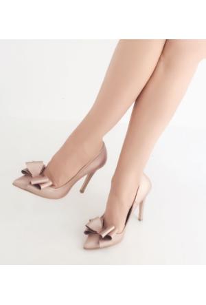 Mio Gusto , Fiyonklu Pudra Renk Kadın Topuklu Ayakkabı