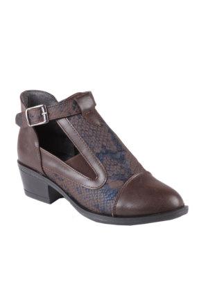 İnce Topuk Kahverengi Kısa Topuklu Ayakkabı