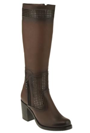 Gess 1017 Fermuarlı Kahverengi Kadın Çizme