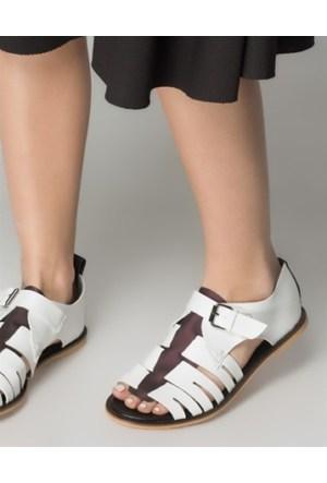 Mizu Beyaz Etnik Örgülü Sandalet
