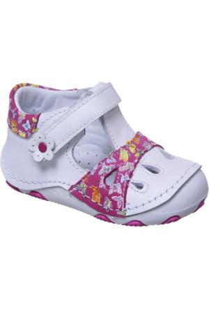 Sanbe İlkadım Kız Deri Ayakkabı Fuşya Beyaz