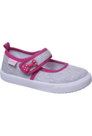Sanbe Cırtlı Kız Babet Keten Ayakkabı Lame