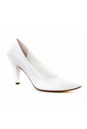 Cabani Yüksek Topuk Klasik Kadın Ayakkabı Beyaz Rugan