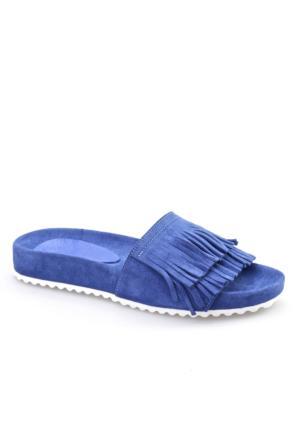 Cabani Püsküllü Kadın Terlik Mavi Süet