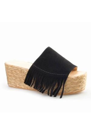 Cabani Dolgu Topuk Kadın Terlik Siyah Süet
