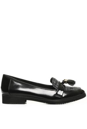 Anne Klein Akhaylen8 Siyah-Beyaz Suni Deri Ayakkabı