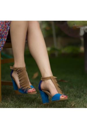 İstebuayakkabı Fringe Topuklu Ayakkabı