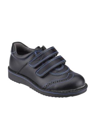 Yellow Kids P6061 Siyah Mavi Erkek Çocuk Deri Ayakkabı