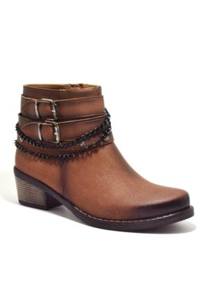 Baldano® Fermuarlı Zincirli Topuklu Kahverengi Kadın Bot