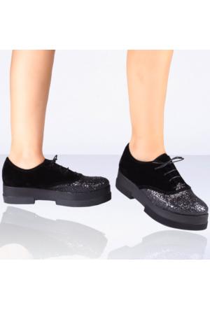 İnce Topuk Siyah Süet Oxford Ayakkabı