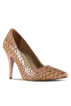 Marjin Kegan Topuklu Ayakkabı Pudra Croco