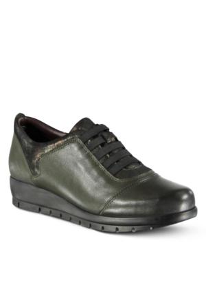 Marjin Telar Deri Dolgu Topuklu Ayakkabı Yeşil