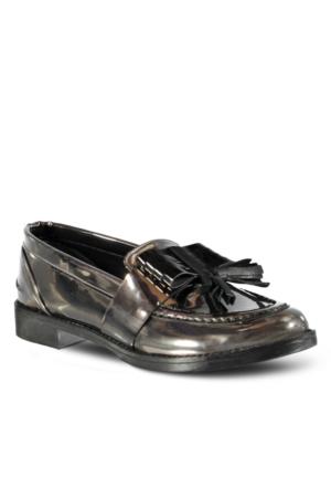 Marjin Ferma Düz Ayakkabı Platin