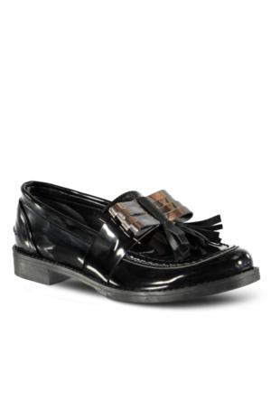 Marjin Ferma Düz Ayakkabı Siyah Açma