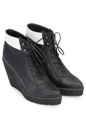 Swear Anita Siyah & Beyaz Deri Ayakkabı