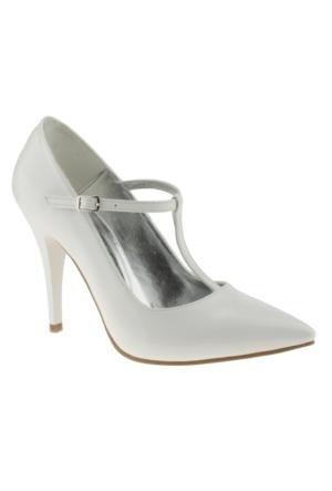 Alisolmaz 734 Sivri Burun Klasik Beyaz Kadın Ayakkabı