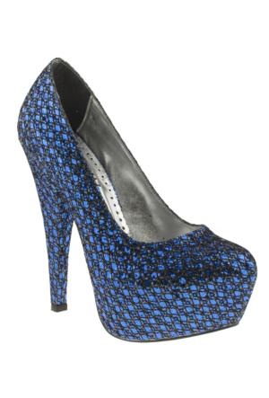 Isabel 501 Pullu Platform Lacivert Kadın Ayakkabı