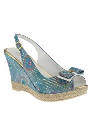 La Pinta 244-452 Dolgu Taban Mavi Kadın Sandalet