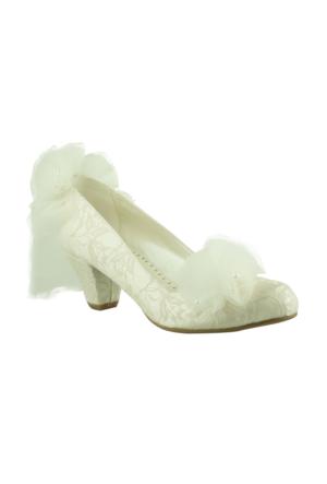 Isabel Tul Cicek Mini Topuk Sedef Kadın Ayakkabı